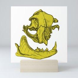 Cat Skull 5 (lemony yellow) Mini Art Print