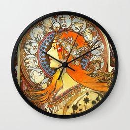 Alphonse Mucha La Plume Zodiac Wall Clock