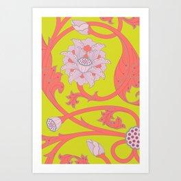 Oriental Lotus Pattern In Acid Lime and Coral Pink Art Print