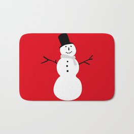 Christmas Snowman-Red Bath Mat