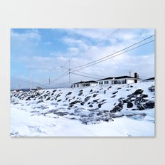 Sea Wall And Twin Houses Canvas Print