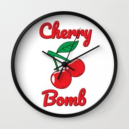 Cherry Bomb Retro Vintage Old Style Design Wall Clock