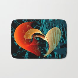 Love Me Abstract Art with Heart Bath Mat