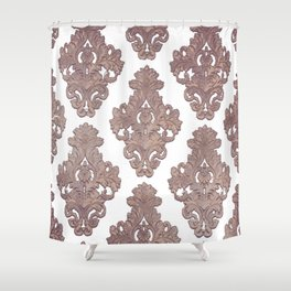 Vintage,Rose gold, damask pattern, template,customise,art nouveau pattern, Shower Curtain