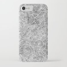 Grey and white swirls doodles iPhone 7 Slim Case