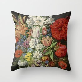 """Osias Beert """"Flowers in a German tigerware vase, with a bluebottle fly and a Red Admiral butterfly"""" Throw Pillow"""