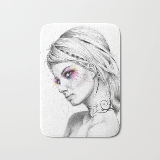 Beautiful Girl with Tattoos and Colorful Eyes Bath Mat