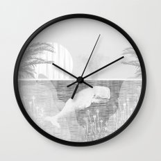 Tropical Black and White Vintage Whale Design Wall Clock