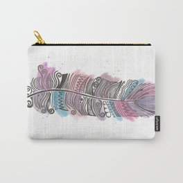 Purple and Blue Zen Feather Carry-All Pouch