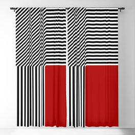 Geometric abstraction, black and white stripes, red square Blackout Curtain