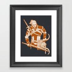 A Witcher and Krampus Framed Art Print