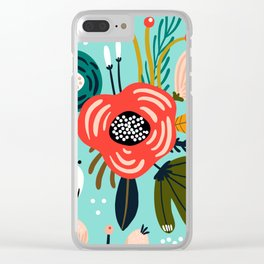 Colorful Hand Drawn Wild Flowers Print Clear iPhone Case