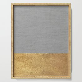 Color Blocked Gold & Grey Serving Tray