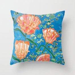 Four Orange Proteas Throw Pillow