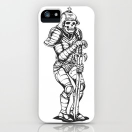 knight skeleton - warrior illustration - skull black and white iPhone Case