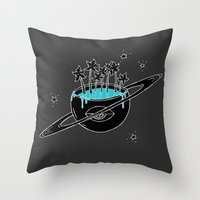 saturn Throw Pillows featuring Saturn by shoooes
