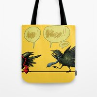 politics Tote Bags featuring Bird Politics by Aimee Cozza