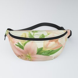 Beautiful vintage blush pink white green lilies flowers photo Fanny Pack