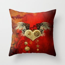 Wonderful steampunk heart with wings Throw Pillow