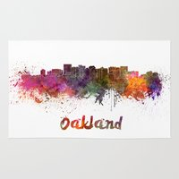 oakland Area & Throw Rugs featuring Oakland skyline in watercolor by Paulrommer