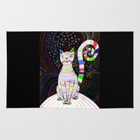 space cat Area & Throw Rugs featuring Space cat by ezgi karaata