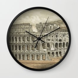 Vintage Illustration of The Roman Colosseum (1872) Wall Clock