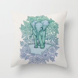 Emerald Elephant in the Lilac Evening Throw Pillow