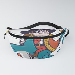Funny Pirate Riding Shark Halloween Fanny Pack