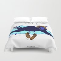 floyd Duvet Covers featuring This is Floyd Birdfinger by Lucky Lusk