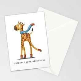 Short Neck Giraffe Illustration Stationery Cards