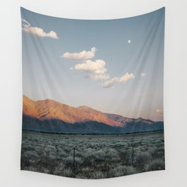 Sierra Mountains with Harvest Moon Wall Tapestry