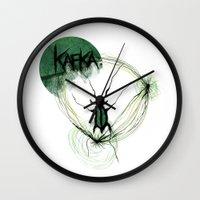 kafka Wall Clocks featuring Kafka Hommage by Hellbunt