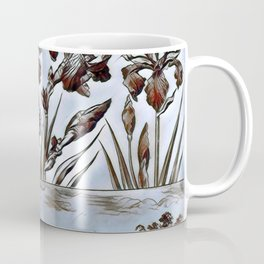 Blue Floral Etching Coffee Mug