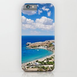 The village of Lindos with a beautiful bay, medieval castle and pictursque houses in Rhodes, Greece. iPhone Case