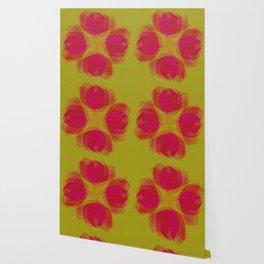 green lemon and pink flowers pattern Wallpaper
