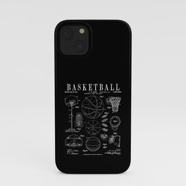Basketball Old Vintage Patent Drawing Print iPhone Case
