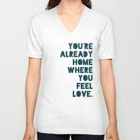 home sweet home V-neck T-shirts featuring Home by Leah Flores