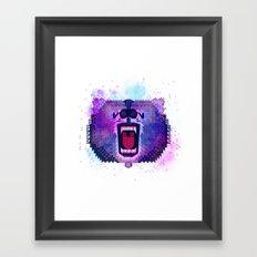 Lilac Geometric Bear Framed Art Print