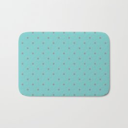 Small Grey Polka Dots with Black Background Bath Mat