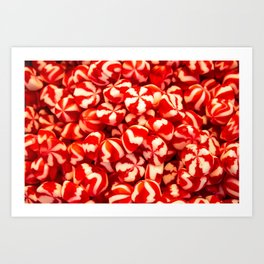 Confectionery of red and white colors with lines. Sweets two colors striped. Art Print