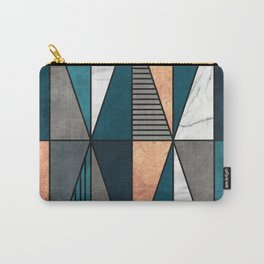 Copper, Marble and Concrete Triangles with Blue Carry-All Pouch