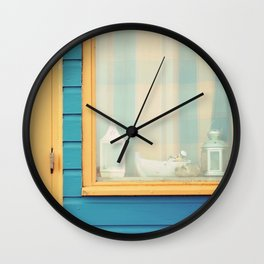 Beach Hut window- orange Wall Clock