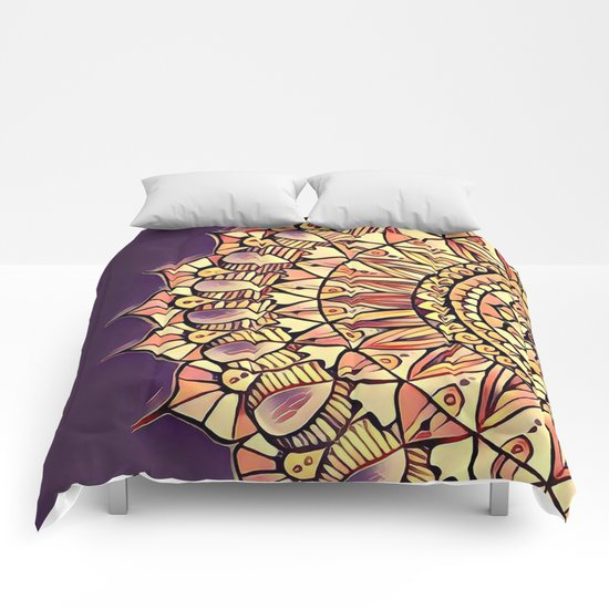 Bloom Mandala in Plum Comforters