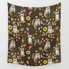 Raccoons Wall Tapestry