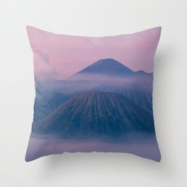 mountain fog clouds mount bromo indonesia Throw Pillow