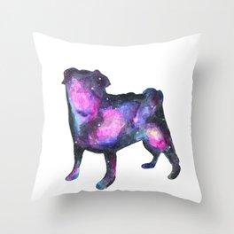 Galaxy Pug Space Watercolor Throw Pillow