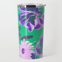 Fashion Textail Floral Print Design, Flower Allover Pattern Travel Mug
