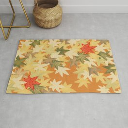 Autumn Leaves Traditional Japanese Kimono Pattern Rug