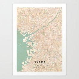 Osaka, Japan - Vintage Map Art Print