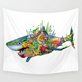 Colored Sea Shark Wall Tapestry